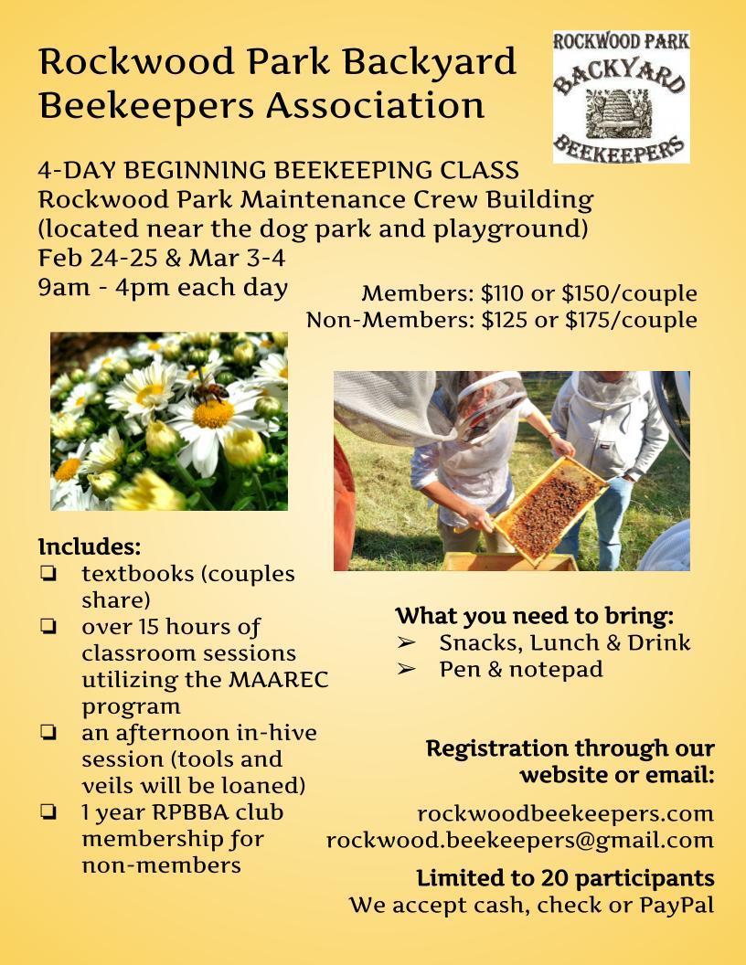 RPBBA 2018 Beginning Beekeeping class